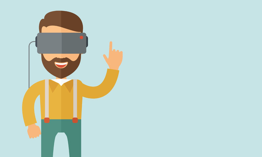 44409826 - a man with isometric virtual reality headset. a contemporary style with pastel palette, soft blue tinted background. vector flat design illustration. horizontal layout with text space in right side.