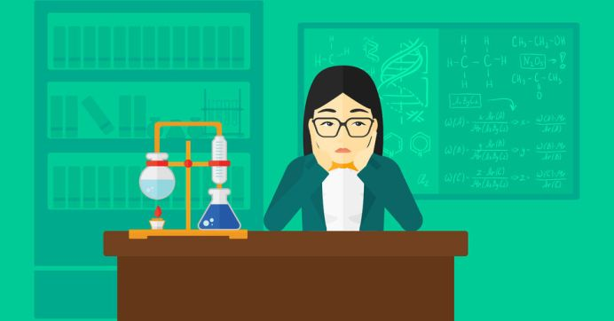54138538 - an asian woman in despair clutching her head on the background of chemistry laboratory vector flat design illustration. horizontal layout.